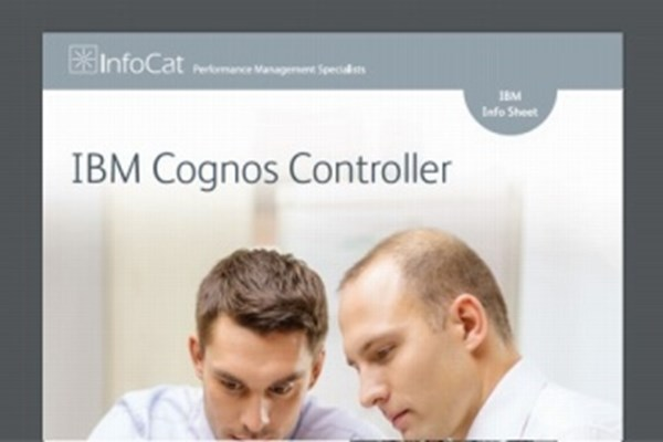 Cover of InfoCat factsheet for IBM Cognos Controller featuring two male work colleagues studying an unseen spreadsheet.